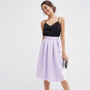 ASOS Pleated Lavender/Lilac Midi Skirt